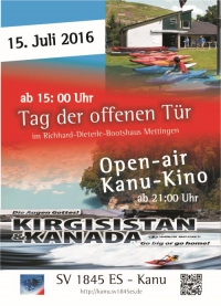 Tag des offenen Bootshauses und Open-Air Kanu-Kino